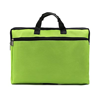 A4 Canvas File Document Bag Organizer Case Handle Messenger Briefcase Bags Zipper For Women Men Green