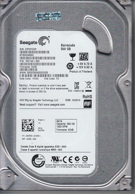 Seagate 500GB SATA 3.5 Hard Drive PN 1BD142-500 FW KC45 ST500DM002 TK Z3T