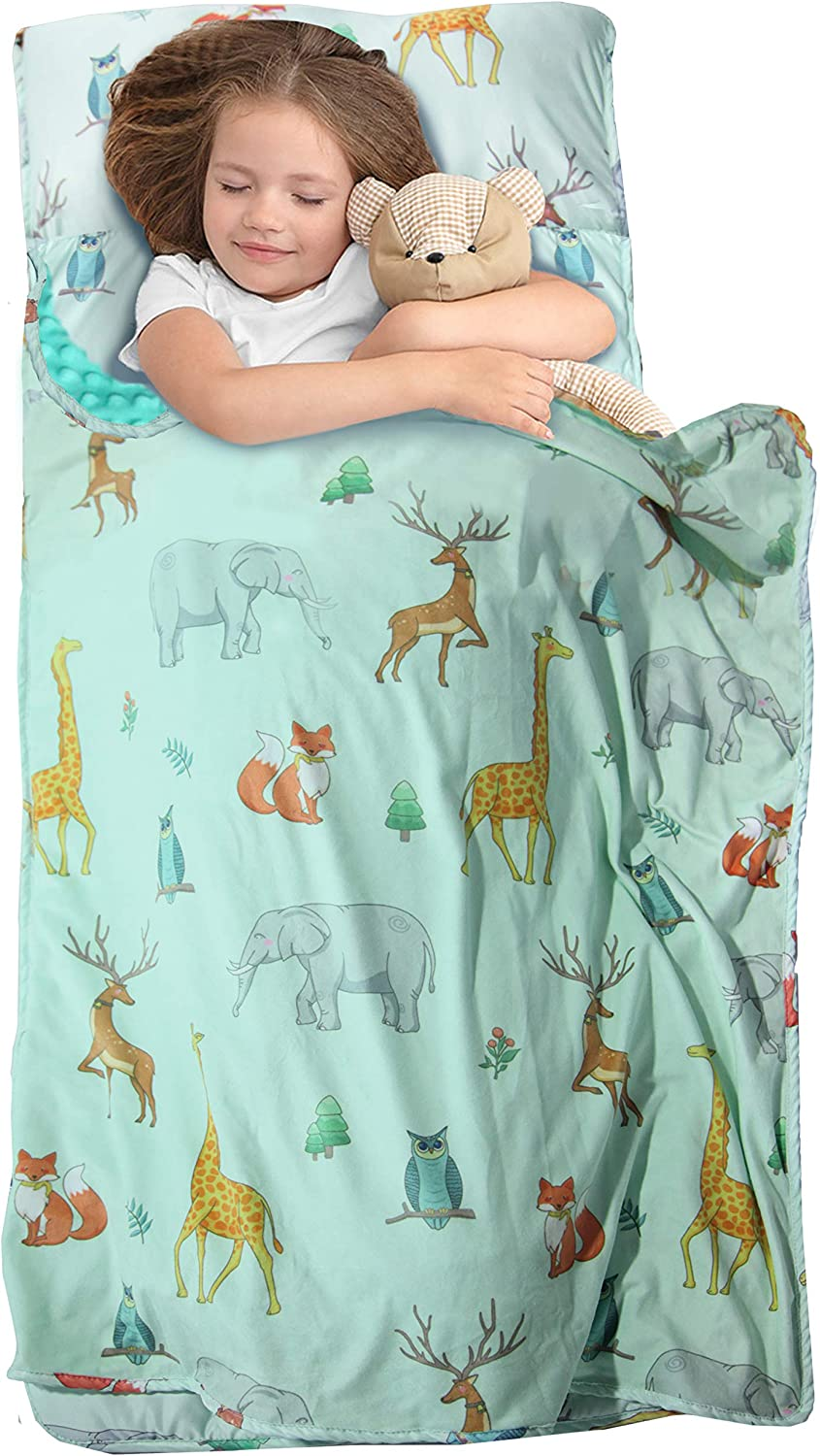 MAXTID Toddler Nap Mat with Removable Pillow for Daycare and Preschool (Turquoise Animal)