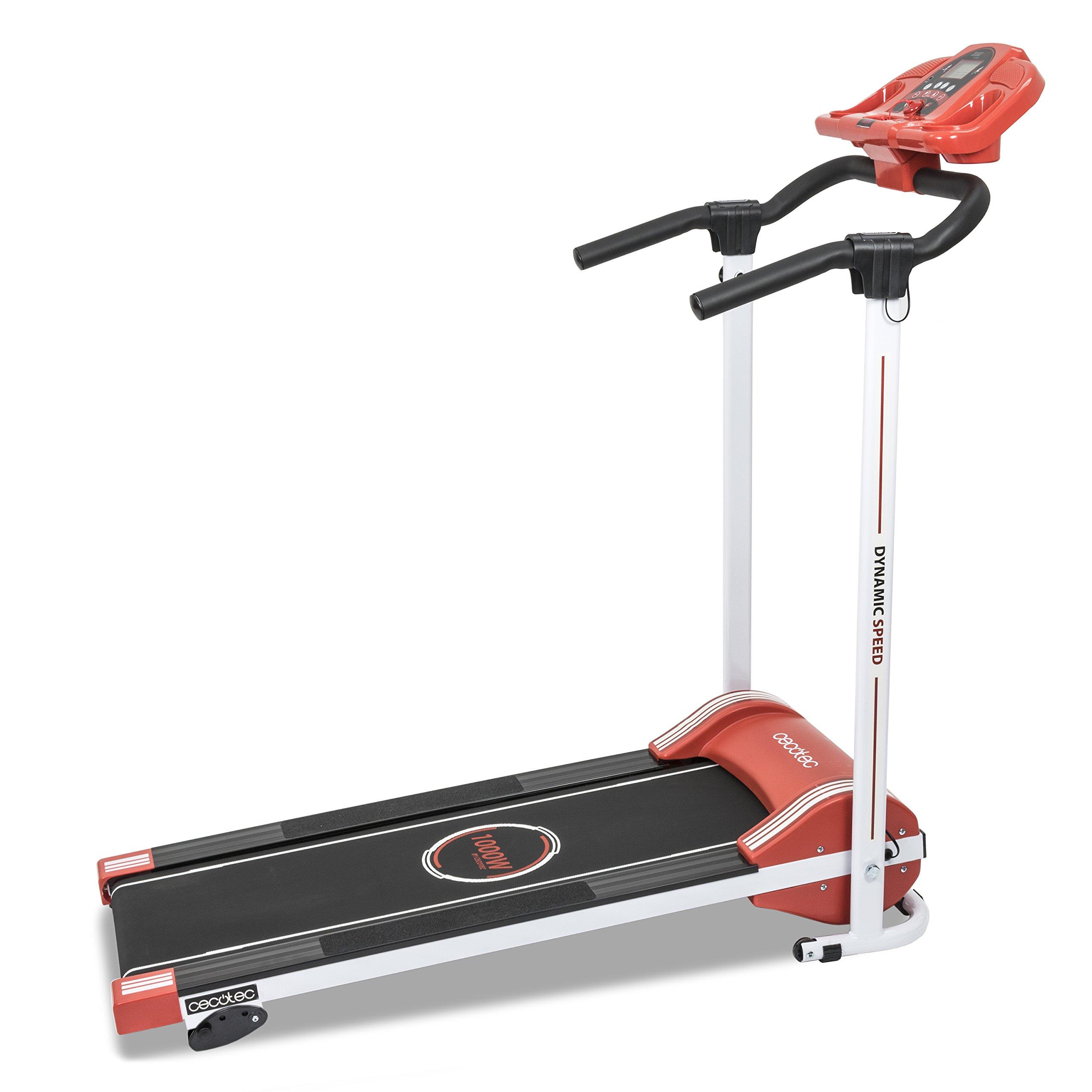 Cecotec - Cinta de andar RunFit Step con12 programas predefinidos. 1000 W de Potencia. Pantalla LED. 10 Km/h. Con Altavoces. Sistema seguridad magnético. Plegable (Rojo) product image