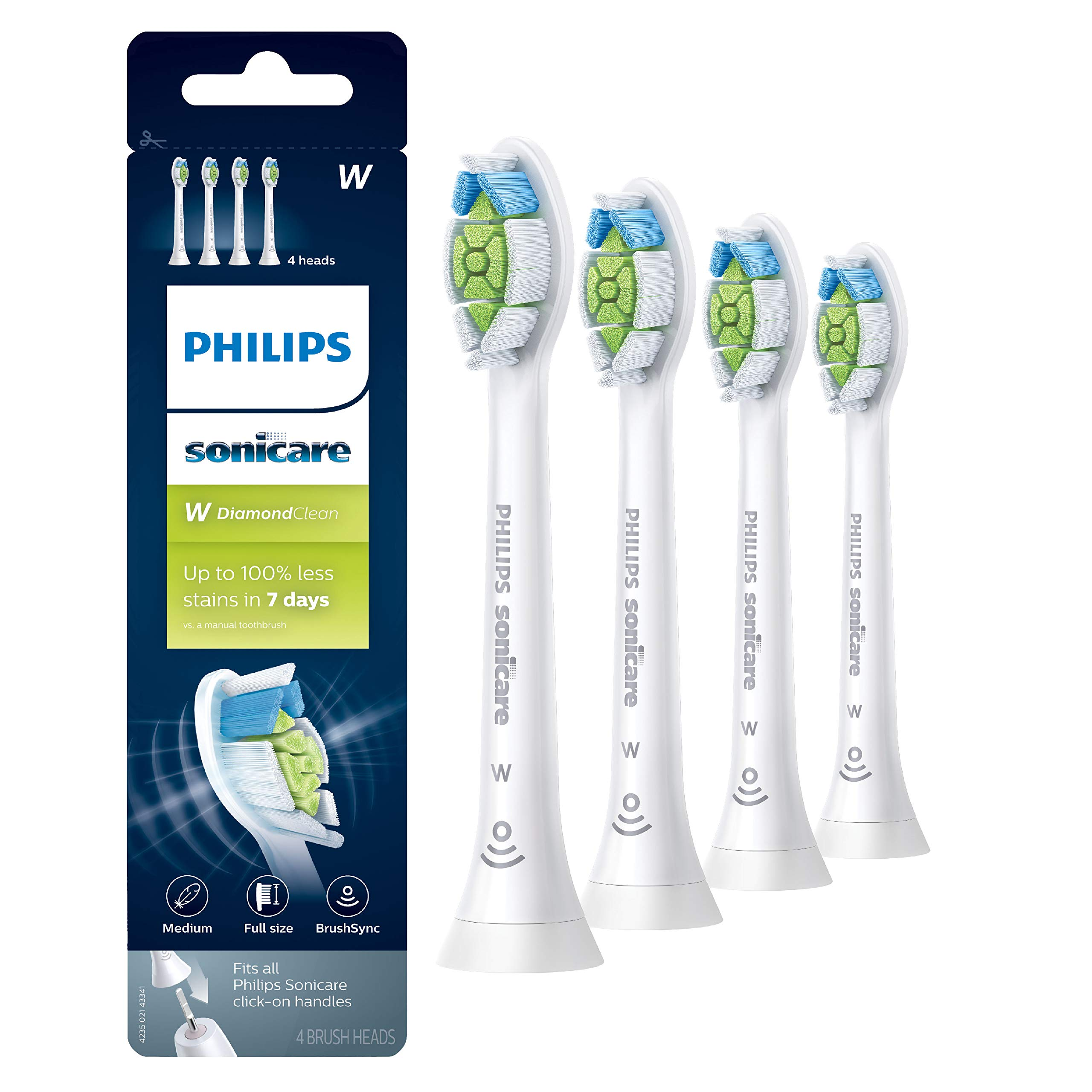 Genuine Philips Sonicare DiamondClean replacement toothbrush heads, HX6064/65, BrushSync technology, White 4-pk