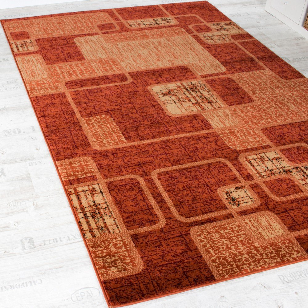 Teppich retro  Teppich Wohnzimmer Teppich Retro Muster Meliert in Terracotta ...