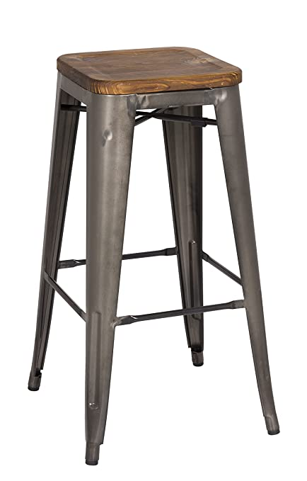 Awesome New Pacific Direct Metropolis Metal Backless Bar Stool 30 Wood Seat Gunmetal Gray Set Of 4 Pdpeps Interior Chair Design Pdpepsorg