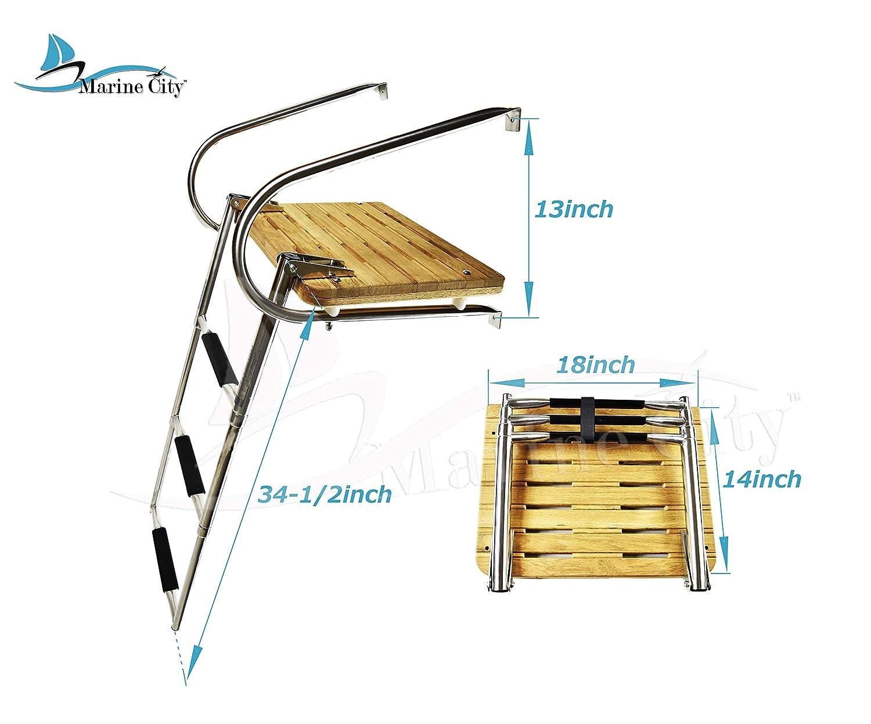 Marine City Stainless Steel Marine 3 Step I//B Swim Teak Platform Ladder