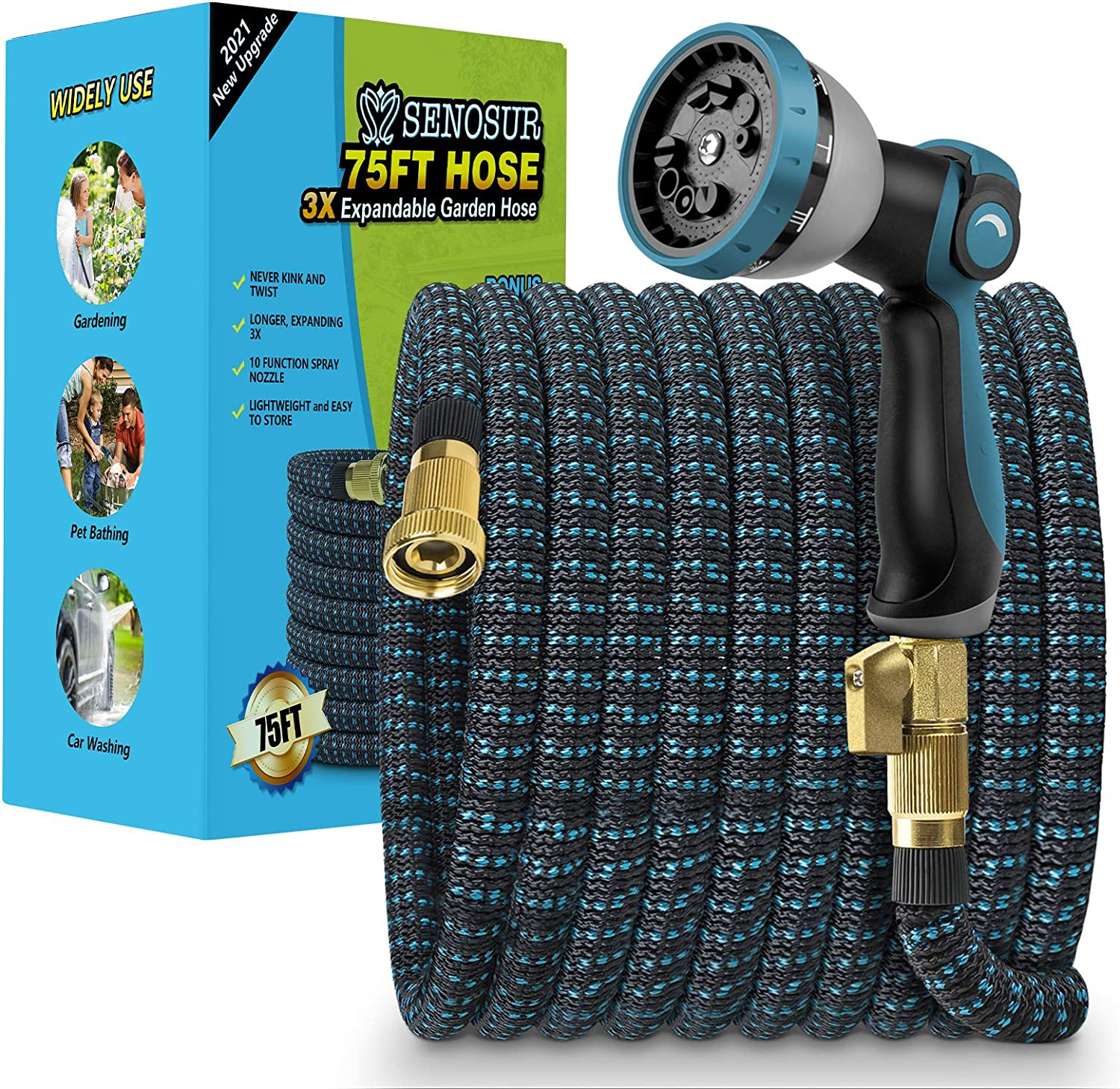 SENOSUR Expandable Garden Hose 75FT, Flexible Water Hose with 10 Function Nozzle, Leakproof Lightweight Expanding Durable Hose, Collapsible Outdoor Hose for Lawn Car Pet Washing