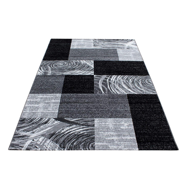 Teppiche modern Design Rechteckig Kurzflor Pflegeleicht Velours Vintage Schwarz, Maße 200x290 cm