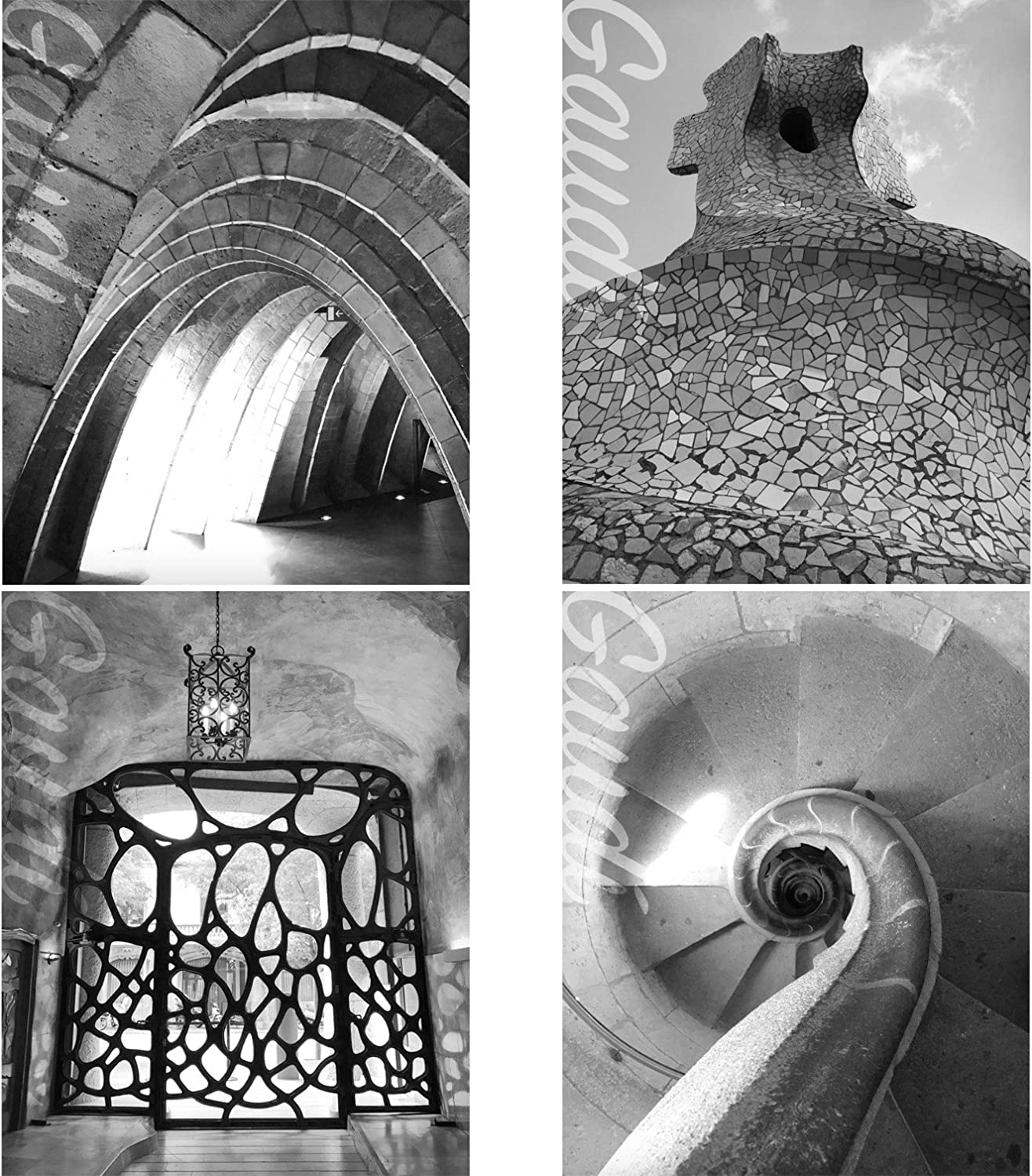 Gabby's Choice Architect Gaudi Wall Art Decor Prints - Set of Four Black and White Photos (8x10) Unframed - Great Gift for Home Decor
