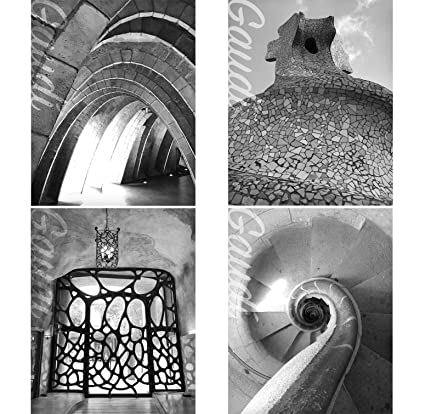 Gabbys choice architect gaudi wall art decor prints set of four black and white photos