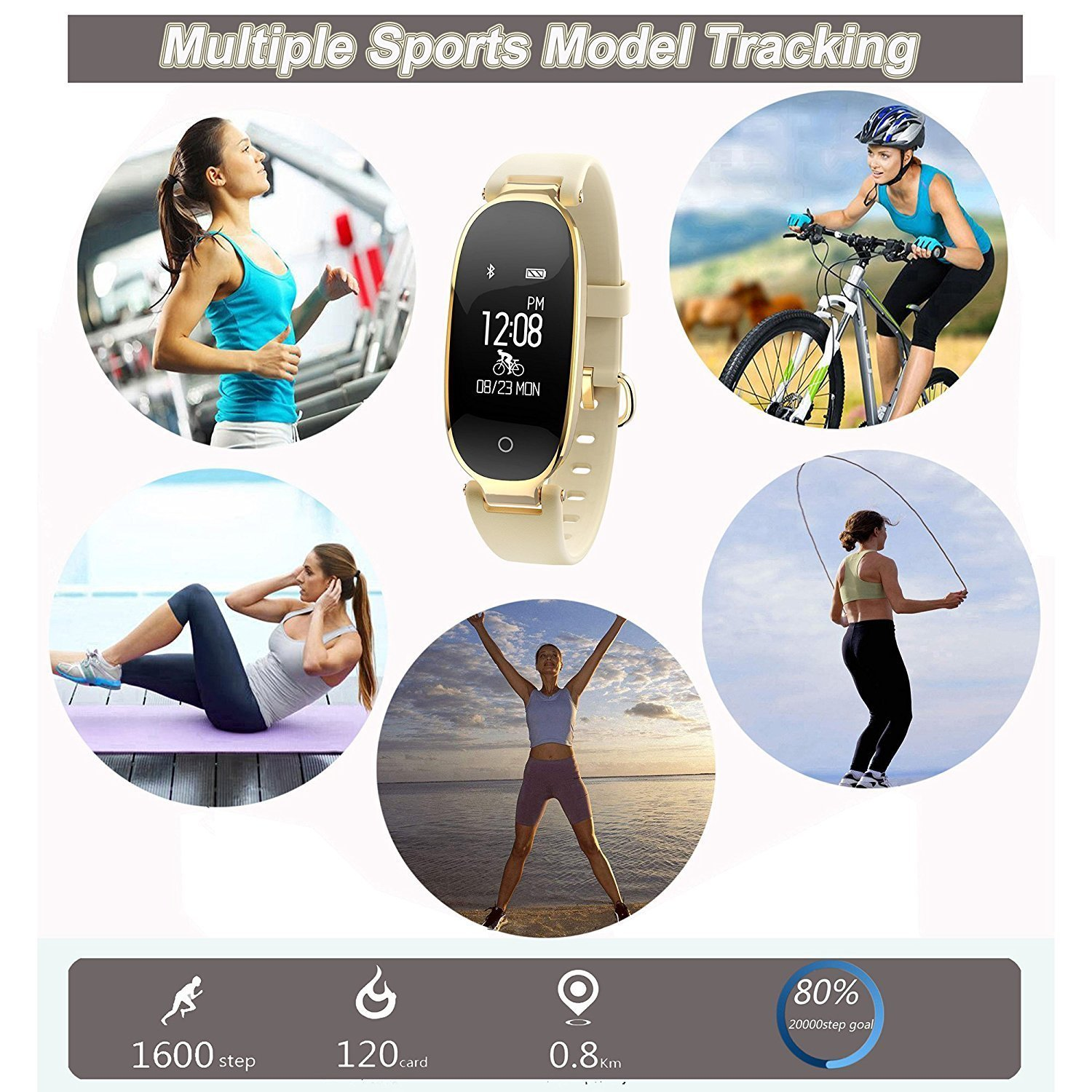 WFCL Fitness Tracker gold Waterproof Activity Tracker with Pedometer Step and Sleep Monitor Calorie Counter Smart Bracelet for Women