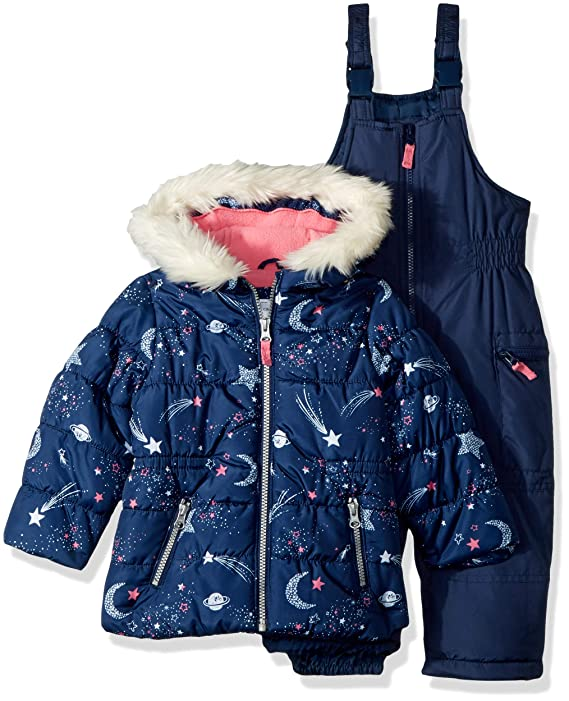 Carter's Girls' Little 2-Piece Heavyweight Printed Snowsuit, Navy Star, 5/6 best girls snowsuits