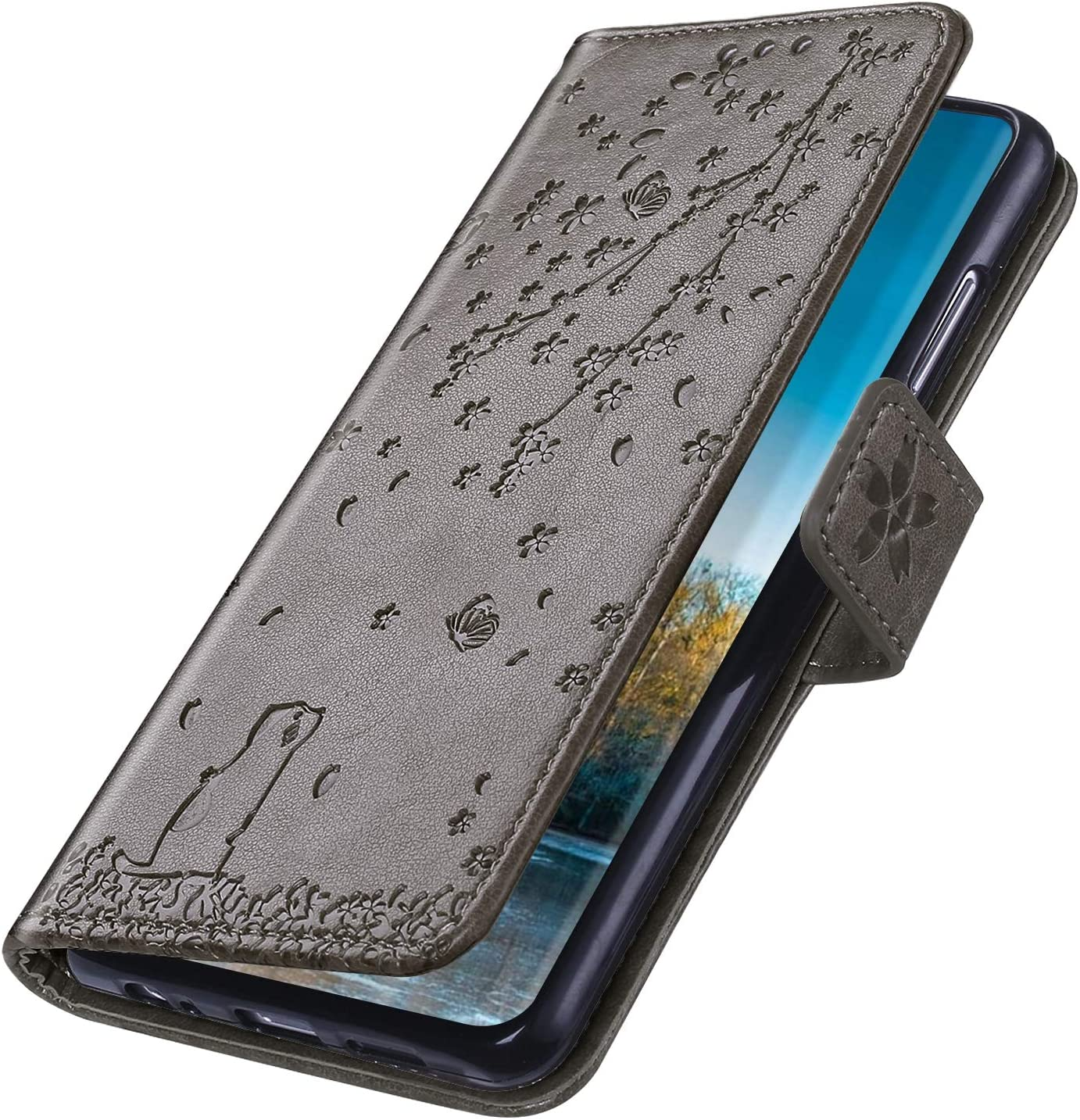 Herbests Compatible with iPhone 11 Case Wallet Flip Cover Cherry Blossom Floral Cat Embossed Slim Protective Case Leather Magnetic Shockproof Folio Cover with Kickstand,Blue