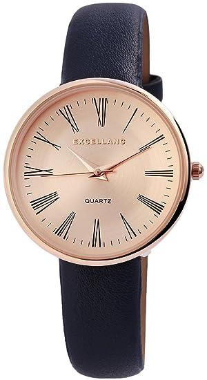 Reloj mujer oro azul Números Romanos analógico de cuarzo piel Reloj de pulsera