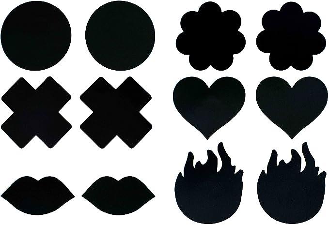 7db30e6dd28 Black (6 Pairs) Disposable Satin Nipple Cover Pasties at Amazon ...