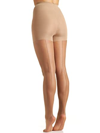 Flapper Costumes, Flapper Girl Costume Berkshire Womens Trend Sheer Tonal Backseam Control Top Pantyhose $11.00 AT vintagedancer.com