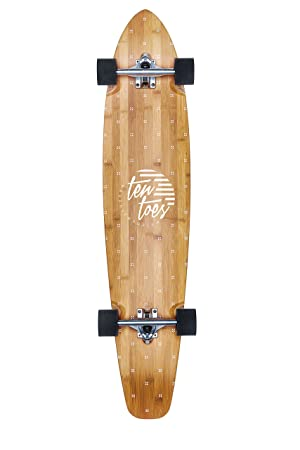 Ten Toes Board Emporium Zed Bamboo Longboard Skateboard Cruiser, 44', White Flora Print