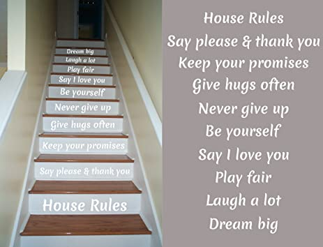 House Rules Decals For Staircase Riser Decor (White)