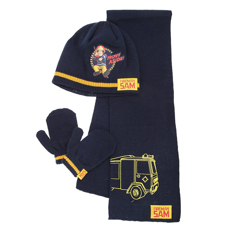 Fireman Sam Winter Hat and Gloves Set  Kids Childrens New