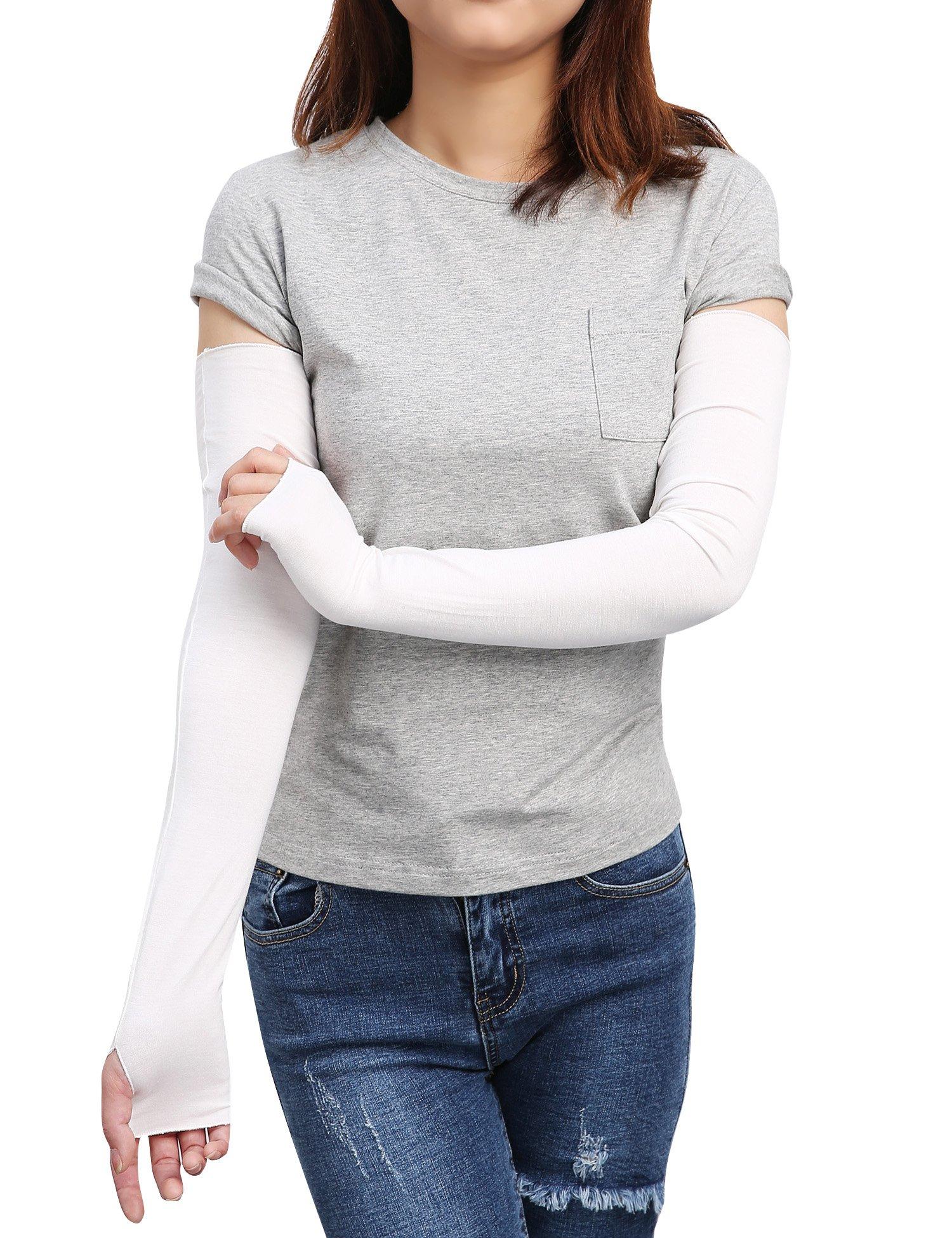 Sheeper Women's Arm Warmer Sleeve Sun Block Stretchy Long Fingerless Driving Gloves (White)