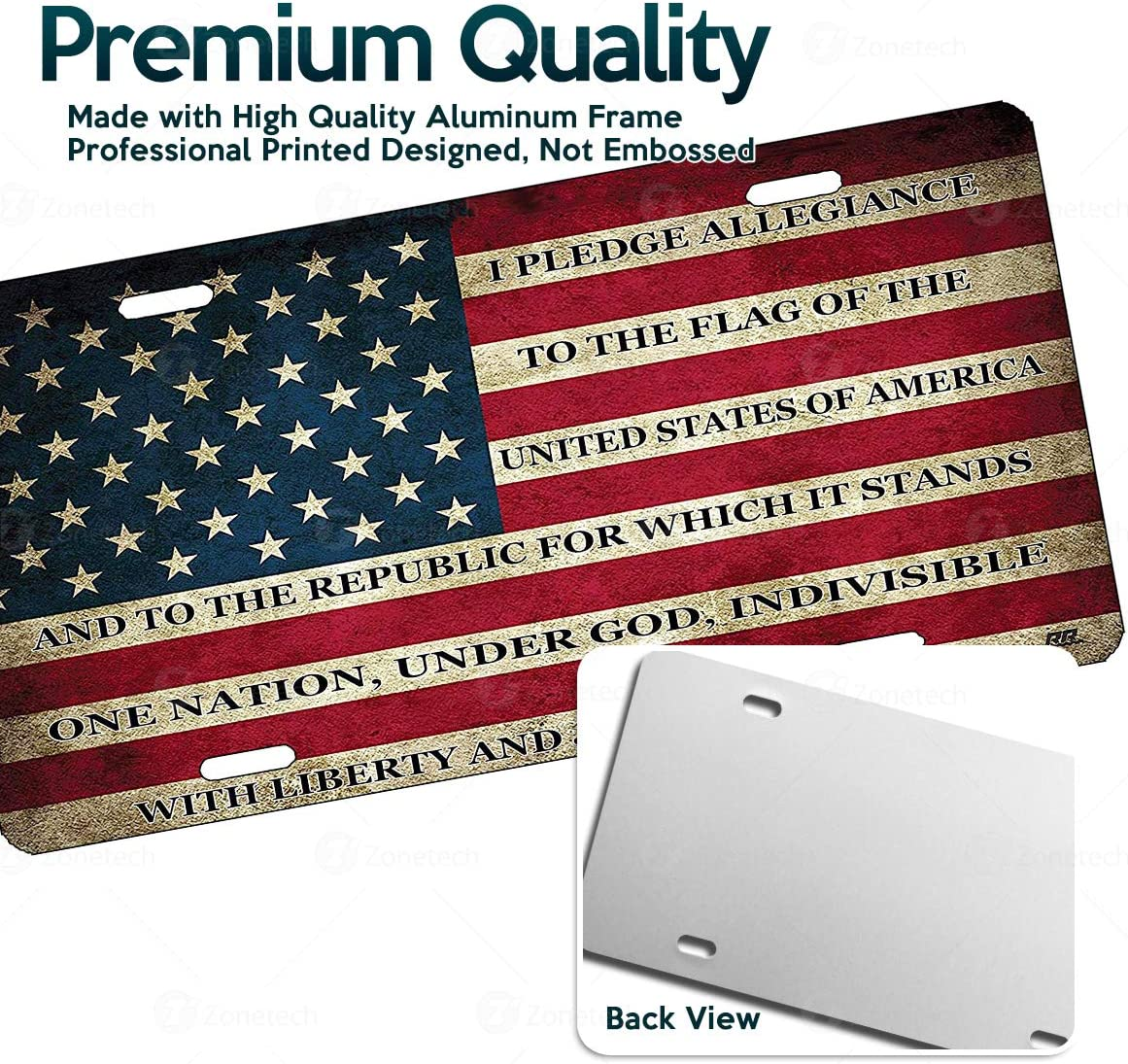 Zone Tech Tactical USA Flag License Plate Premium Quality Thick Durable Novelty American Patriotic Pledge of Allegiance