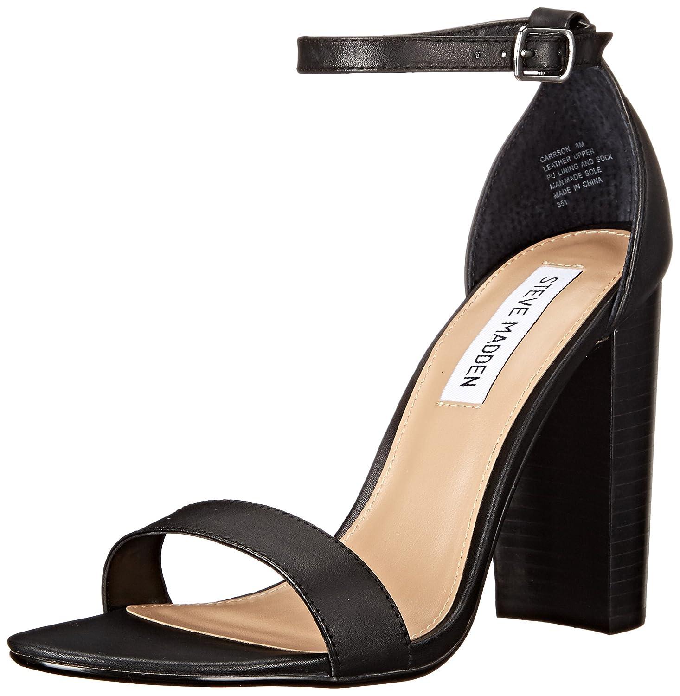 Steve Madden Women's Carrson Dress Sandal B016R8WUVA 6.5 B(M) US|Black Leather