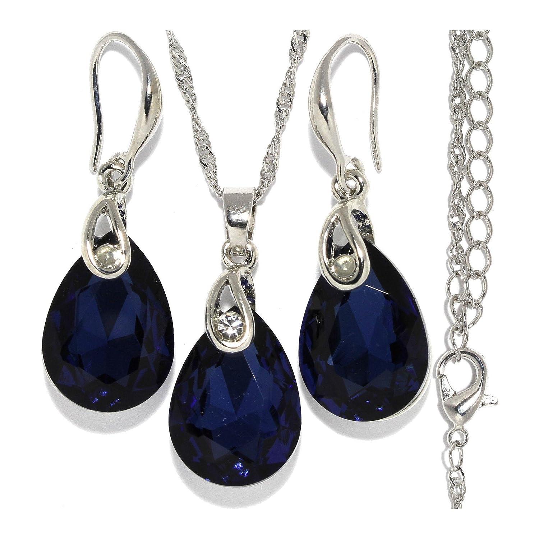 "18"" Necklace Pendant Earrings Set Teardrop Dark Blue Gem Rhinestone Silver Tone Alloy AnsonsImages"