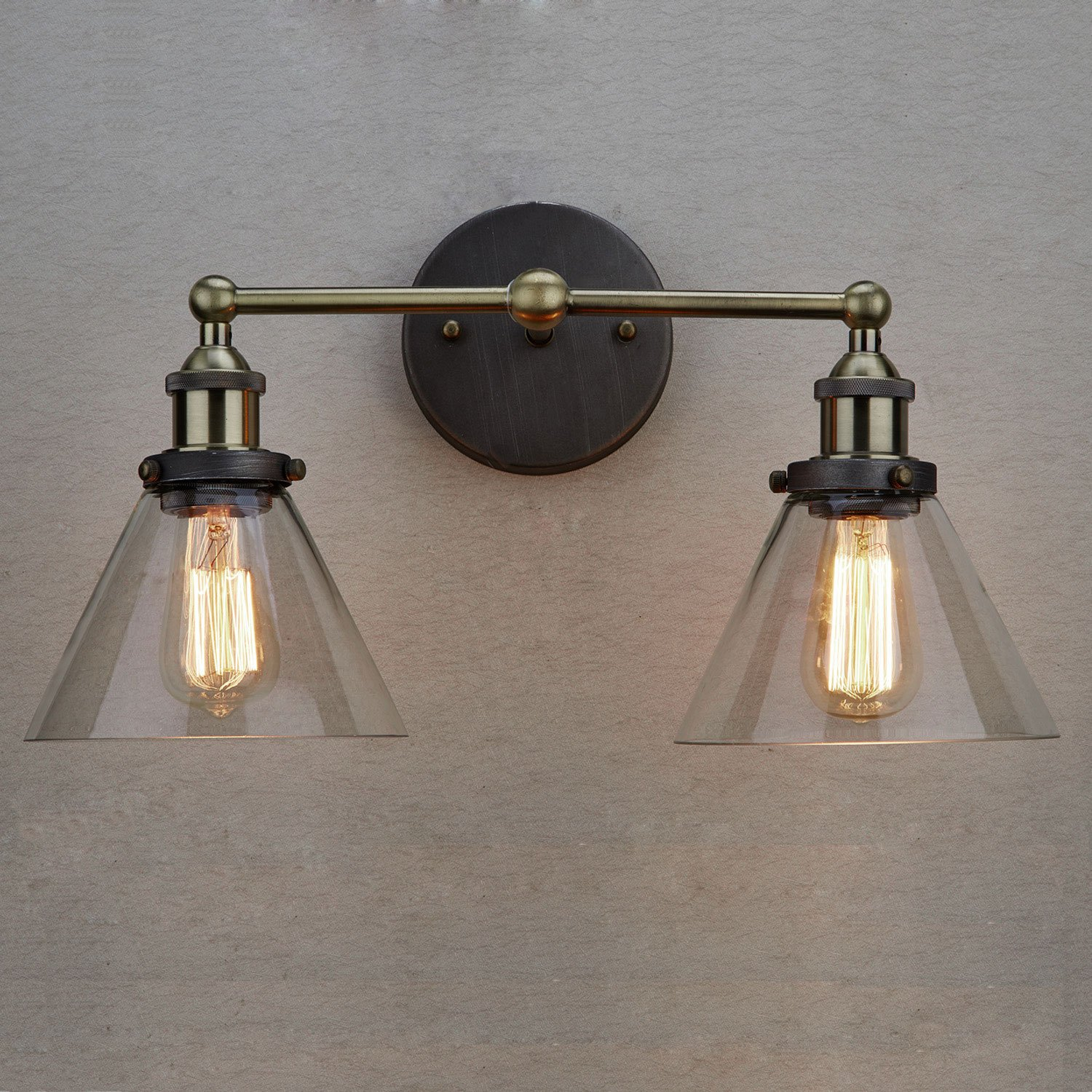 Claxy ecopower simplicity industrial edison antique glass 2 light claxy ecopower simplicity industrial edison antique glass 2 light wall sconces fixture amazon aloadofball Image collections