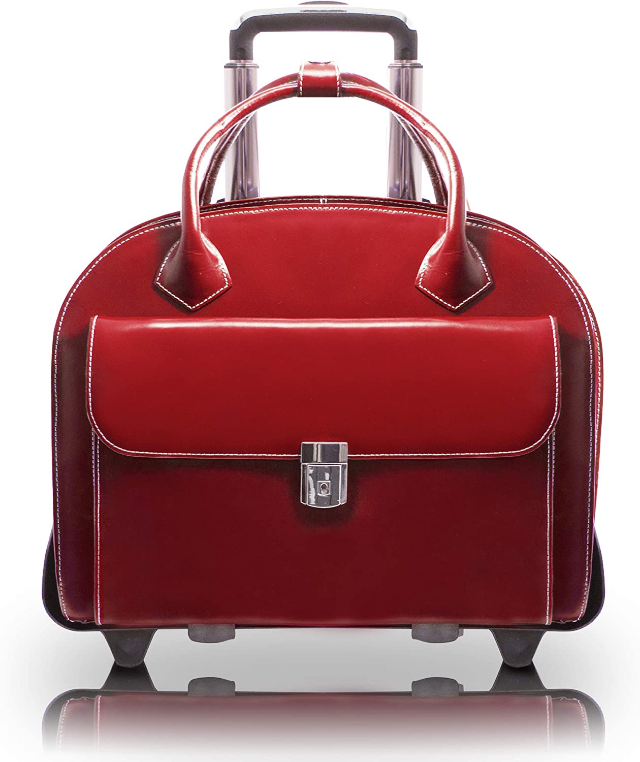 """McKleinUSA W Series, Glen Ellyn, Top Grain Cowhide Leather, 15"""" Leather Patented Detachable -Wheeled Ladies' Laptop Briefcase, Red (94366), One Size"""