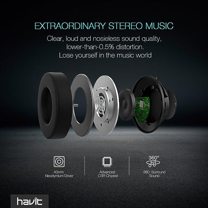 e75bf4e8779 Amazon.com: Bluetooth Headphone Over Ear HAVIT Hi-Fi Stereo Wireless Headset,  Dual 40mm Drivers, Soft Memory-Protein Earmuffs, 22 Hour Audio Playback, ...