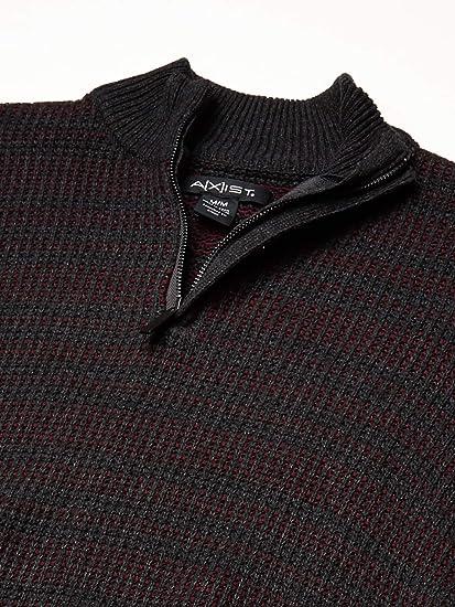 AXIST Mens Long Sleeve Mockneck Zip Sweater