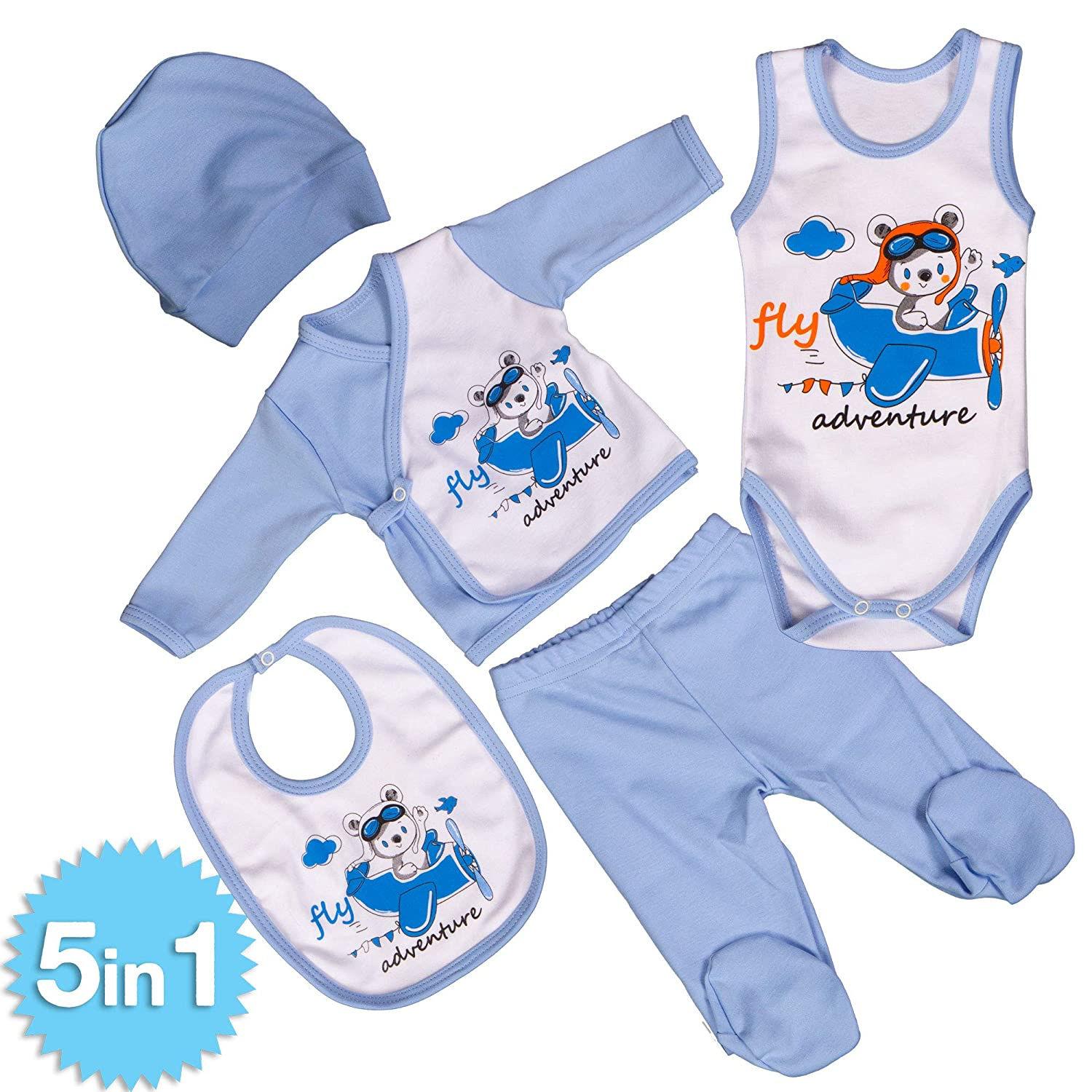 QAR7.3 Newborn Baby 5pcs Cotton Gift Clothing Set Essentials Bundle 0-3 Months