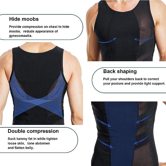 Gilet de compression Body Shaper Hommes Minceur Chemise Abs Forme de Ventre Sous-V/êtements