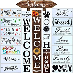 24 PCS Welcome Stencil for Painting on Wood,Home Sign Stencils Reusable Porch Sign and Front Door Vertical Welcome Comes with Stencil-Sunflower,Dog Paw Stencil and orther Pattern (Style 4)