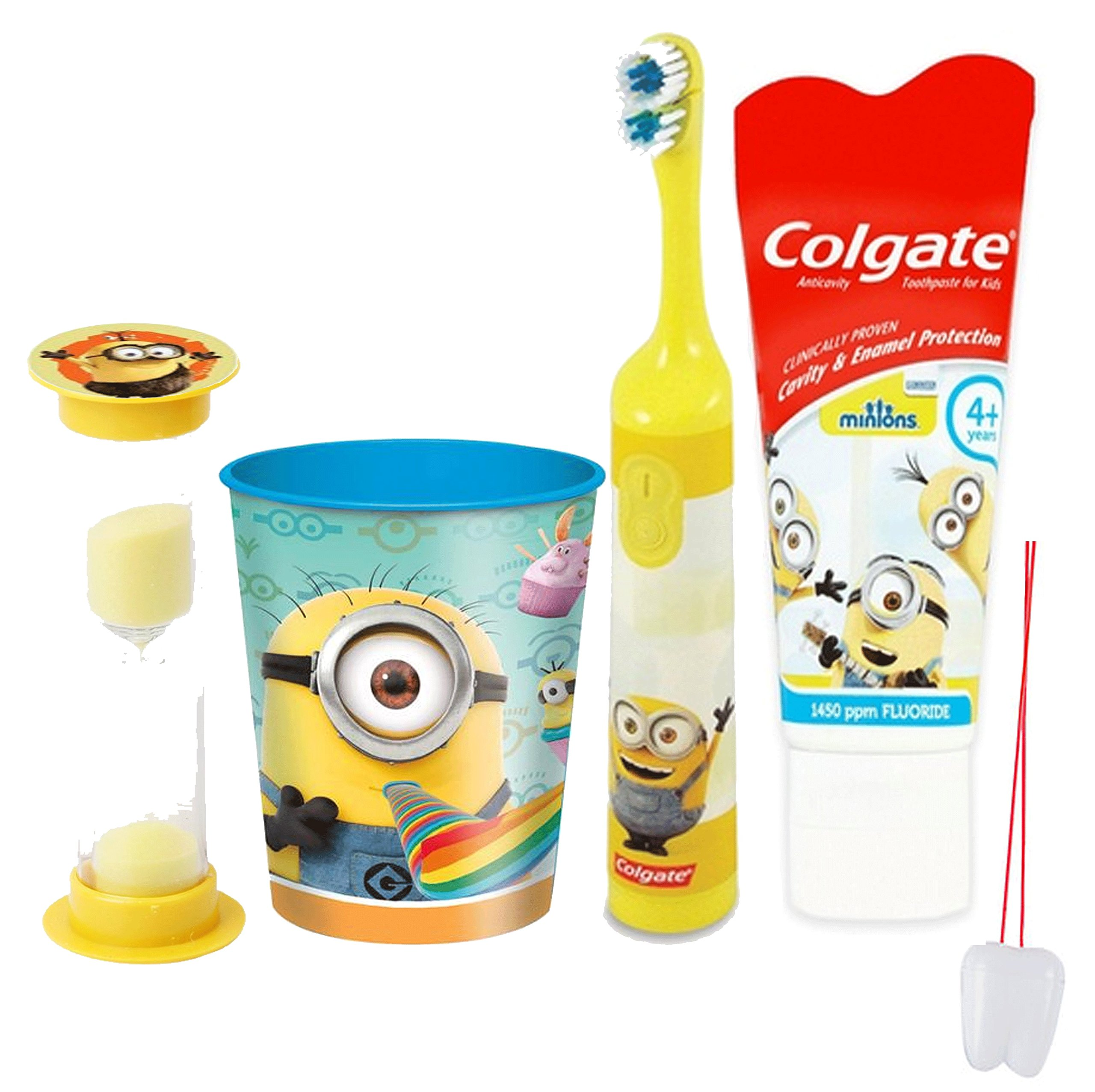 Despicable Me Minions 4pc Bright Smile Oral Hygiene Set! Spin Toothbrush, Toothpaste, Brushing Timer & Mouthwash Rinse…