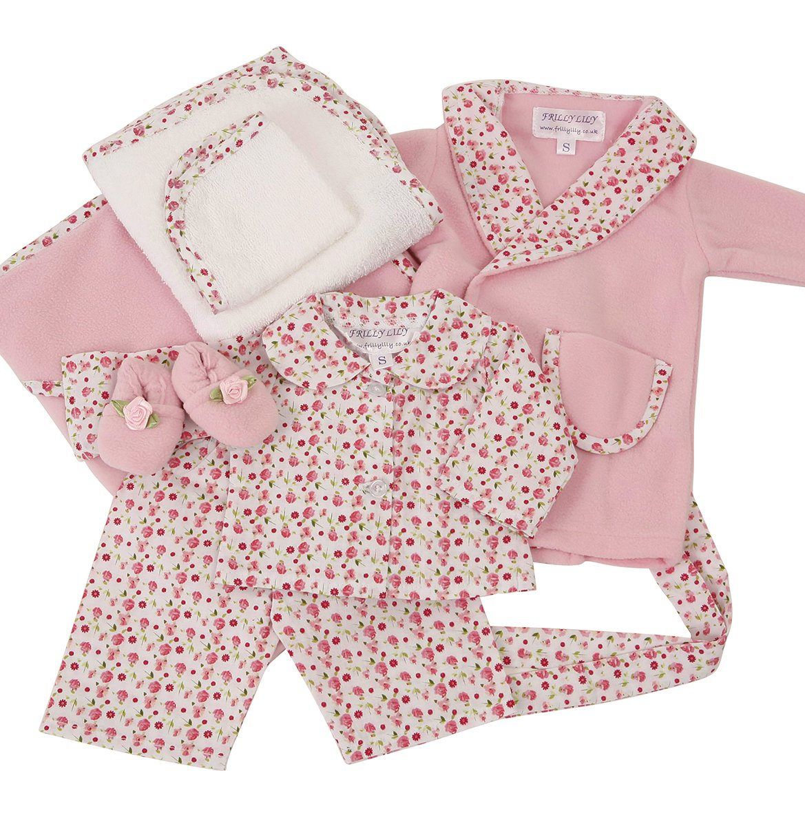 Frilly Lily COMPLETE PINK NIGHTIME SET FOR MEDIUM DOLLS AND BEARS [SNUGGLE BLANKET,TOWEL SET,PYJAMAS,SLIPPERS AND DRESSING GOWN,TO FIT DOLLS SUCH AS 46 CM BABY ANNABELL