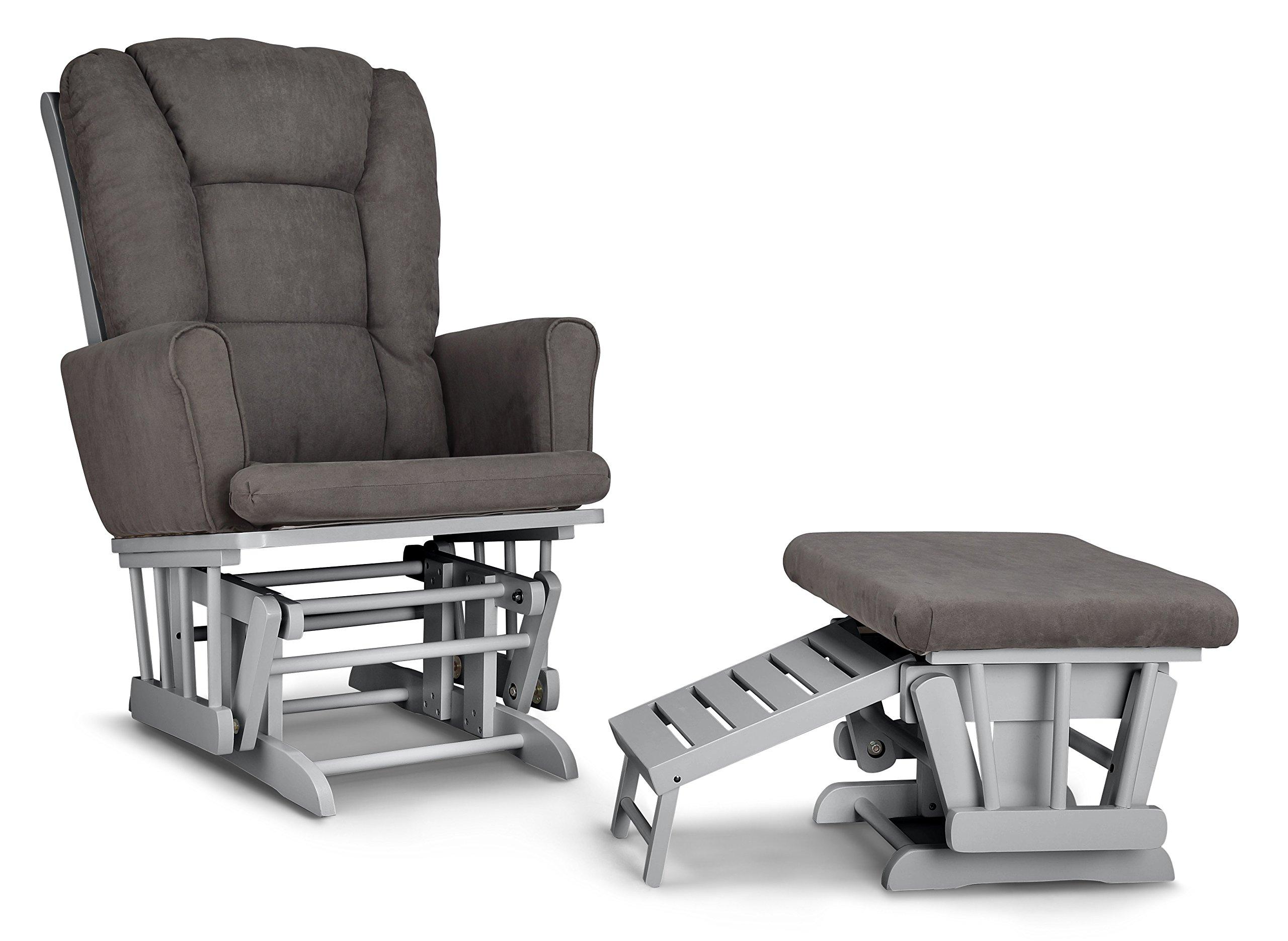 Graco Sterling Semi Upholstered Glider and Nursing Ottoman, Pebble Gray/Gray