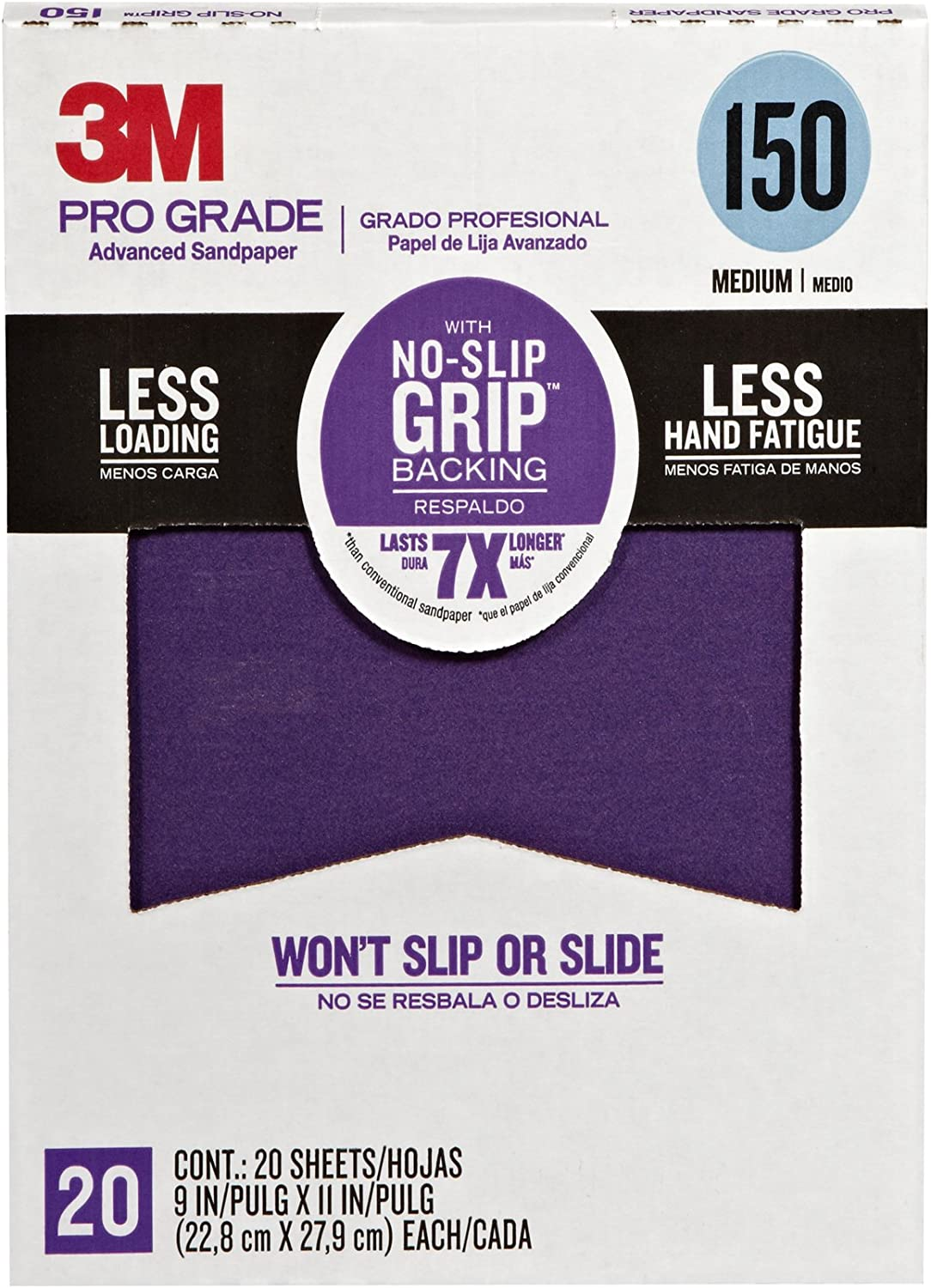 3M 26150CP-P-G Pro Grade No-Slip Grip Advanced Sandpaper, 9 x 11-Inch, 150 Grit, Pack of 20, 1.