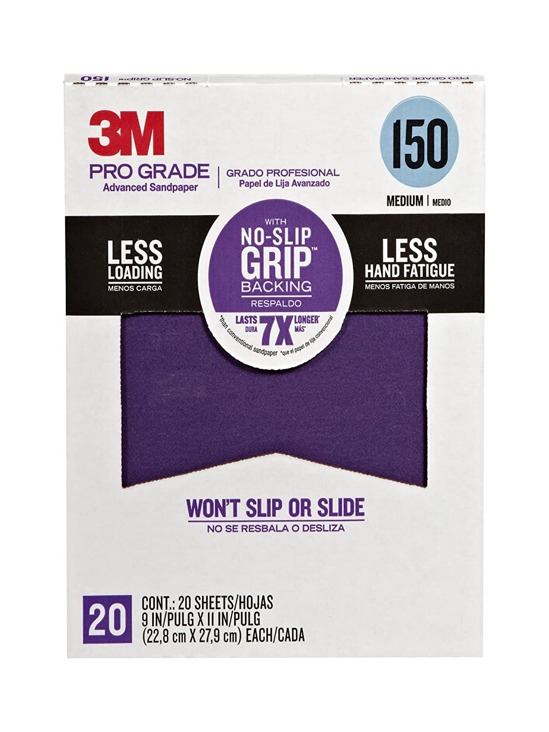 3M 26150CP-P-G Pro Grade No-Slip Grip Advanced Sandpaper, 9 x 11-Inch, 150 Grit, Pack of 20, 1. 81INmCd1puL