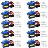 Miuzei 10 pcs SG90 Servo Motor, Micro Servo 9G SG90 Kit for RC Robot Arm/Walking Helicopter Airplane Car Boat Control…