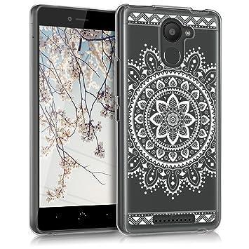 kwmobile Funda para bq Aquaris U Plus - Carcasa de TPU para móvil y diseño de Flores Aztecas en Blanco/Transparente