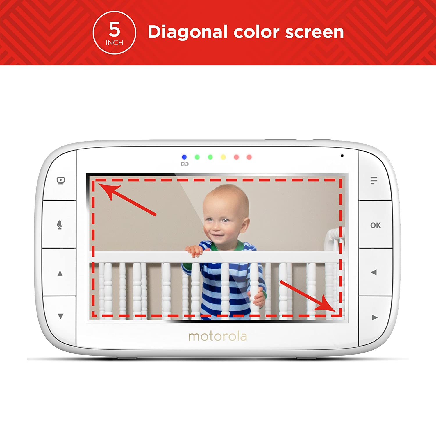3.5 White Motorola MBP33XL 2.4 GHz FHSS Digital Video Color Screen Baby Monitor