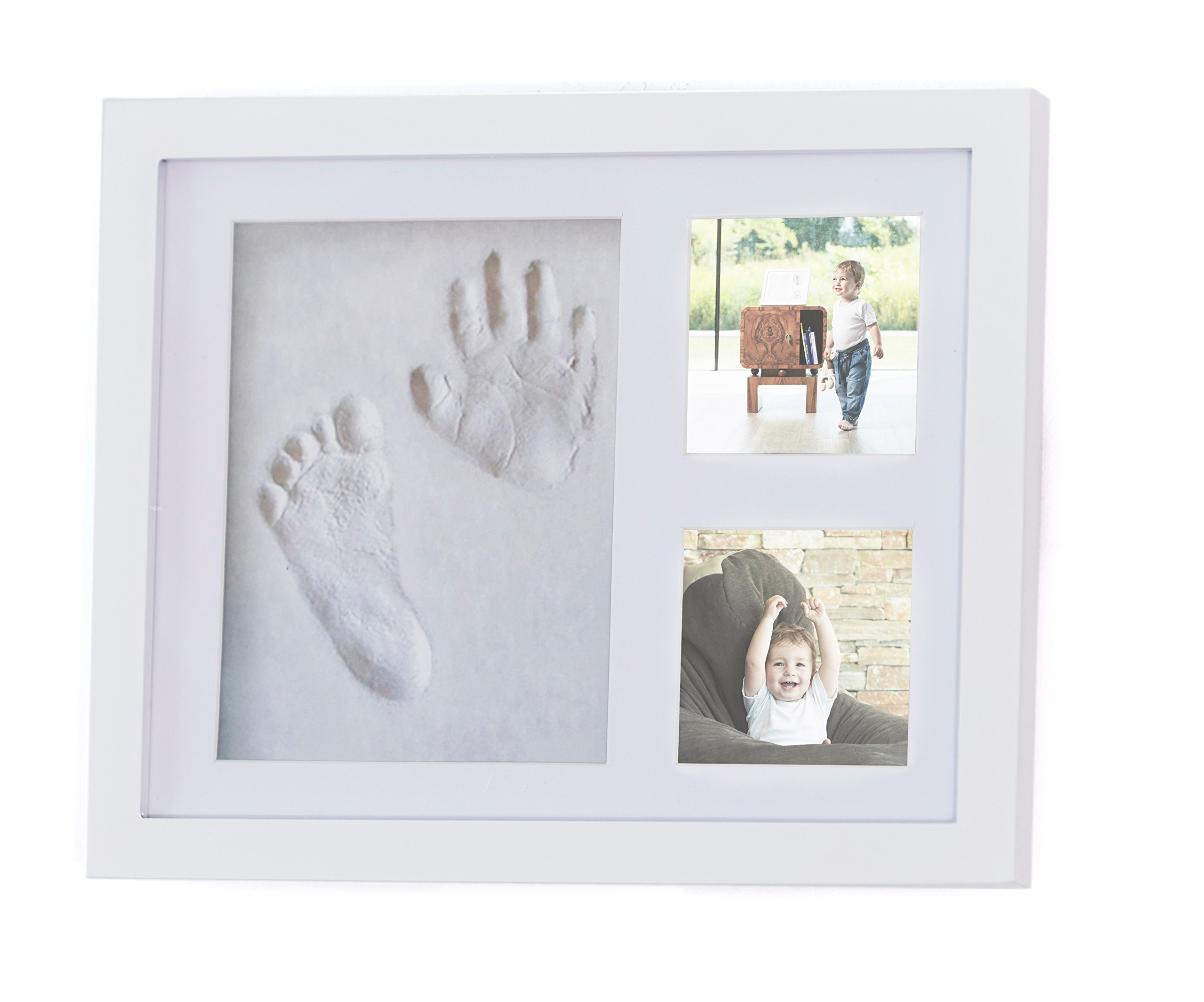 Whitewood Picture Frame kit for Family by 4Baby Stars -Home Room Wall & Table Decor -Awesome Boys & Girls Newborn Baby Shower Gift for Registry -Unique & Cute Footprint & Handprint Clay Memorable Art