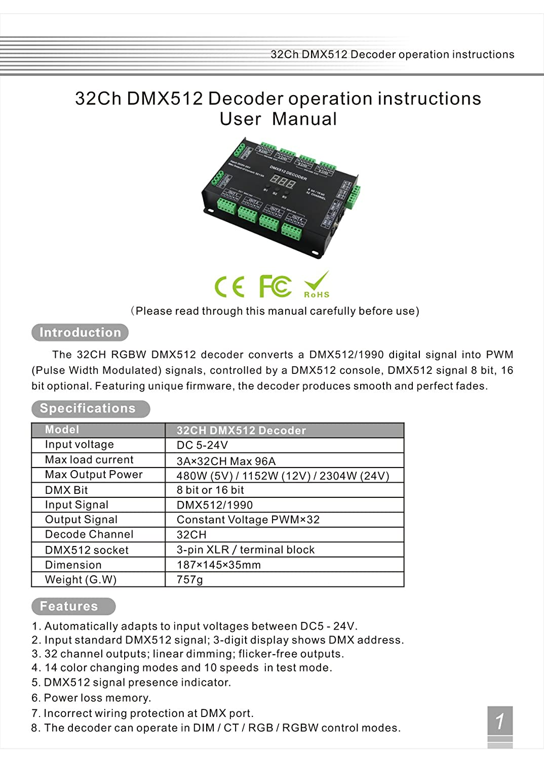 32 Channel 96a Rgbw Dmx 512 Led Decoder Controller Dimmer Dc5 Wiring Diagram 24v Rgb Light 8 Bit 16 Lighting