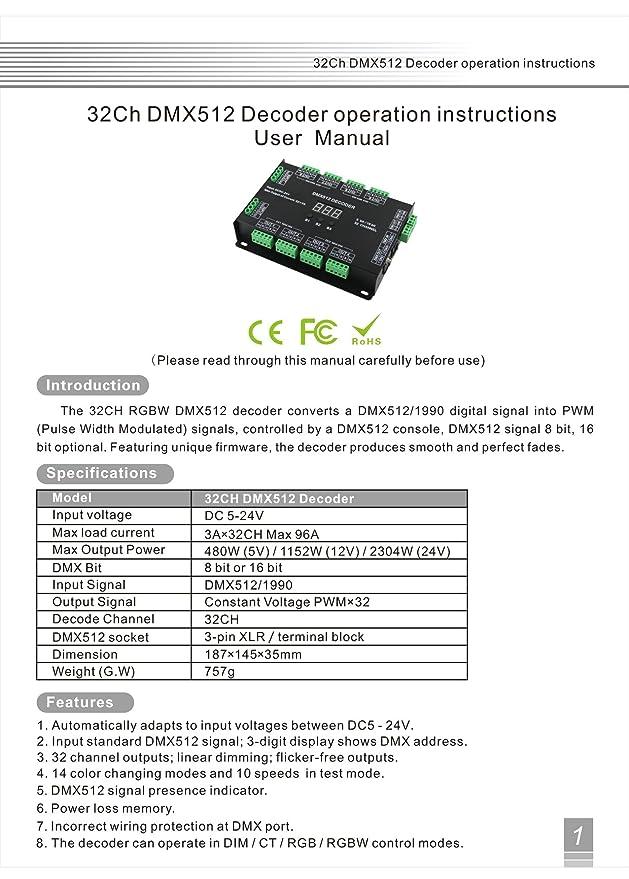 32 Channel 96A RGBW DMX 512 LED Decoder Controller DMX Dimmer DC5 ...