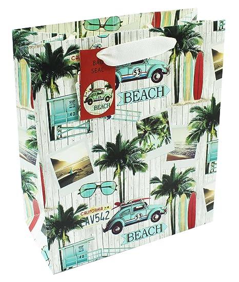 Bolsa de regalo grande para hombre con diseño de retro de cumpleaños en la playa