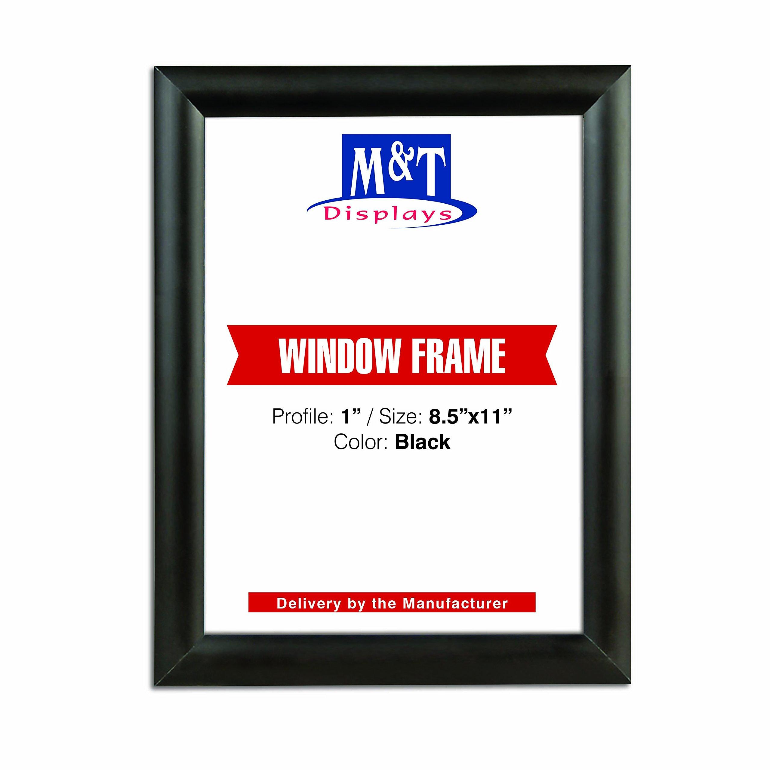 M&T Displays 8.5×11 Window Frame, 1 inch Black Mitered Profile