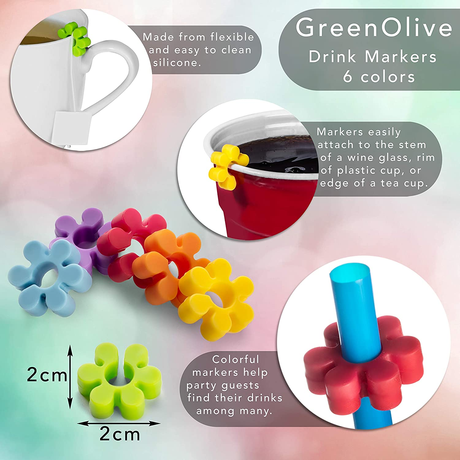 GreenOlive Wine Glass Charms Drink Markers Wine Charms for Glasses Cocktail Accessories