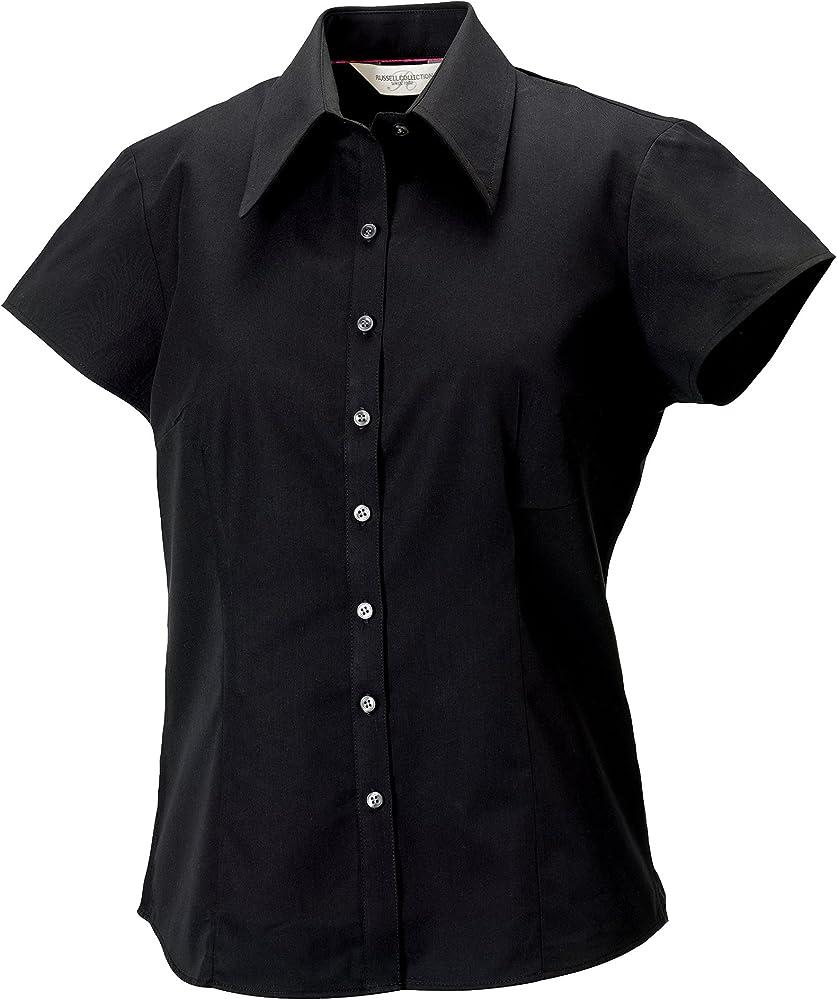 Russell Collection- Camisa Entallada Tencel de Manga Corta para Mujer (Pequeña (S) 38) (Blanco): Amazon.es: Ropa y accesorios