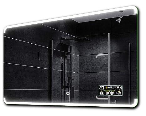 Uhr Badspiegel mit LED Spiegel mit Beleuchtung Touch Assen WetterStation