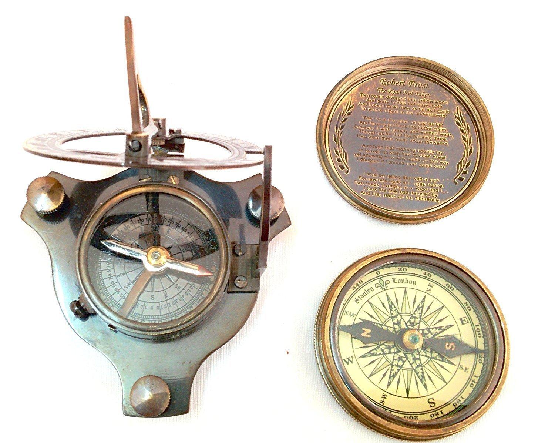 Shaheera Nautical Antique Look日時計コンパス+ 1詩コンパス。磁気品質真鍮コンパスMaritime B07BZK1D5H