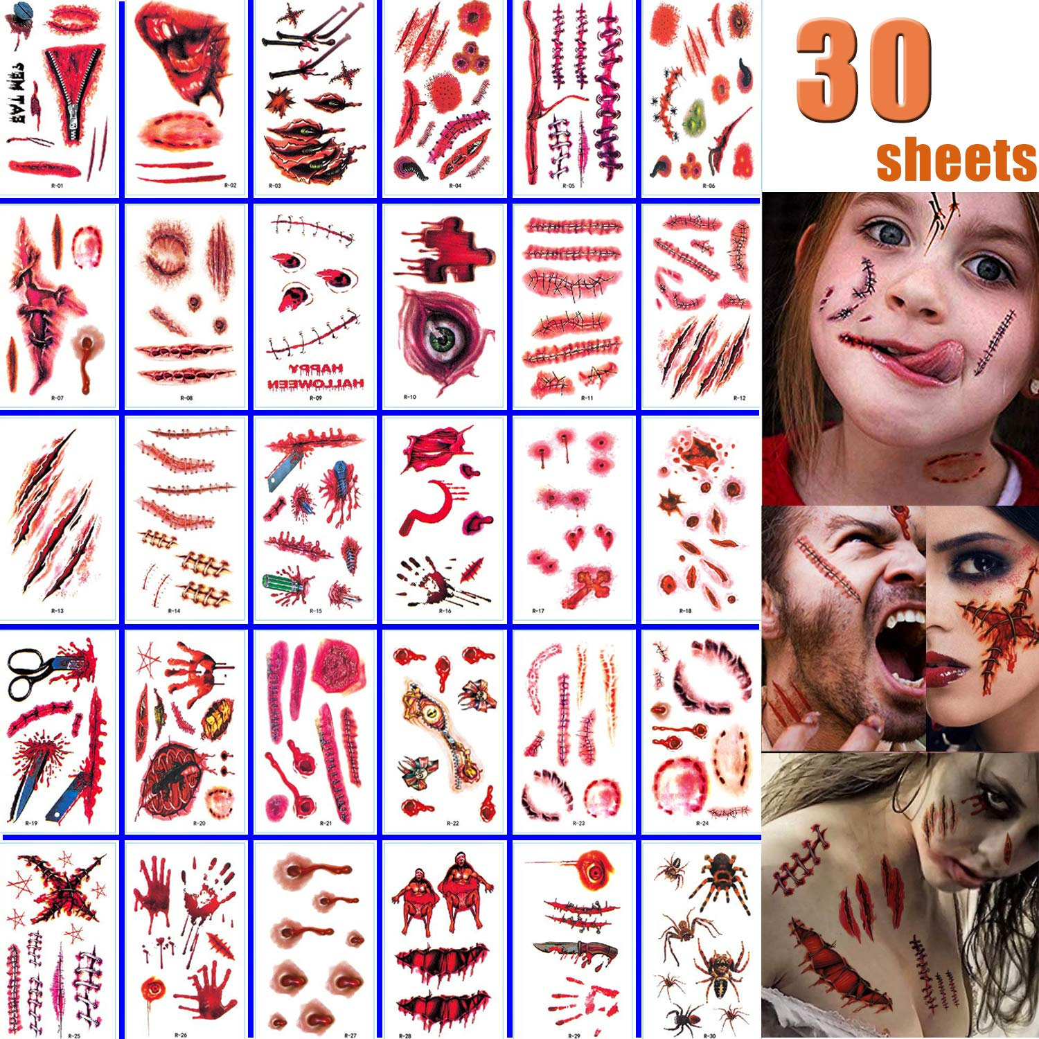 Halloween Face Fake Scar Tattoos, 30 Sheets Zombie Makeup Kit Decoration, Realistic Bloody Makeup Face Decorations Fake Injury Wound Tattoo for Halloween Costume for Party Supplies Cosplay Props